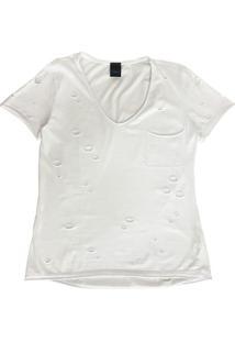 Blusa Com Decote V E Bolso Branco