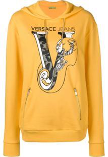 Versace Jeans Blusa De Moletom Com Estampa De Logo - Amarelo