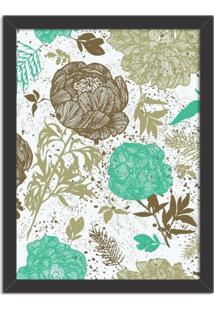 Quadro Decorativo Floral Verde Mesclado Preto - Grande