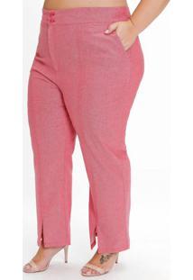 Calça Plus Size Vermelha Com Fendas Na Barra