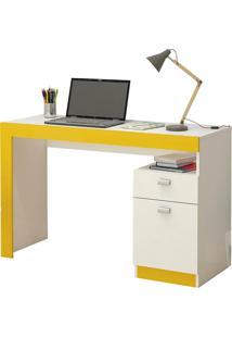 Mesa Para Computador Permóbili Móveis Melissa 1 Porta Branco/Amarela