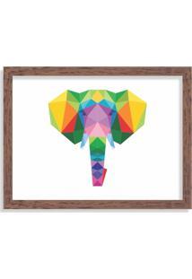 Quadro Decorativo Elefante Abstrato Colorido Madeira - Grande