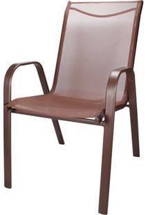 Cadeira Para Jardim Em Aço 92X54Cm Marrom