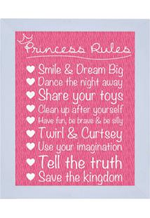 "Quadro Decorativo ""Princess Rules""- Rosa & Branco- 2Kapos"