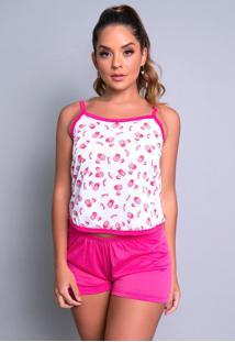 Pijama Mvb Modas Adulto Blusinha Alã§A Short Curto Rosa - Rosa - Feminino - Poliã©Ster - Dafiti