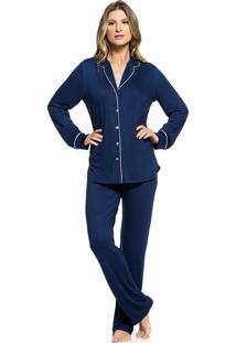 Pijama Inspirate De Inverno Aberto Azul Marinho