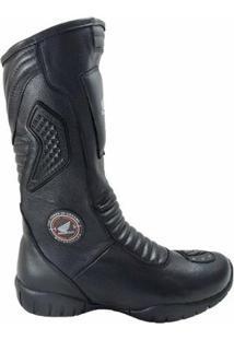 Bota Atron Shoes Motociclista C/ Protetor De Câmbio - Masculino-Preto