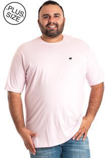 Camiseta Konciny Básica Plus Size Rosa