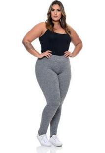 Çalça Legging Plus Size Feminina - Feminino-Cinza