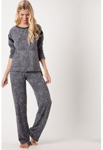 Pijama Joge Longo Aberto Tricot Multicolorido - Multicolorido - Feminino - Dafiti