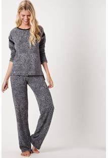 Pijama Joge Longo Aberto Tricot Multicolorido