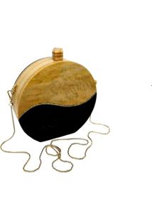 Bolsa La Madame Co Clutch Wood Bicolor Marrom/Preto