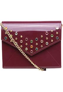 Bolsa Petite Jolie Mini Bag Pedrarias Feminina - Feminino-Vinho