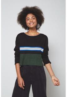 Blusa Tricot Color Unica Oh, Boy! - Feminino-Preto