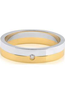 Aliança De Casamento Ouro Branco Ouro Amarelo E Diamante