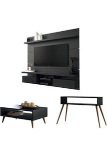 Painel Tv Livin 1.8 Com Mesa De Centro Lucy E Aparador Quad Preto - Hb
