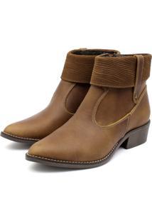 Bota Ankle Boot Couro Venetto Feminina Salto Quadrado Lapela Caramelo - Tricae