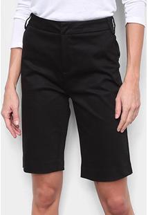 Bermuda Calvin Klein Alfaiataria Feminina - Feminino-Preto