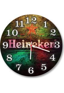 Relógio De Parede Decorativo Heineken Beer Colorido 35Cm Médio