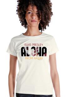 Camiseta Bandup Bandas Elvis Presley Aloha From Hawaii 2 Off White