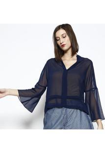 Blusa Em Transparãªncia Com Recortes- Azul Marinho- Ddbz Jeans