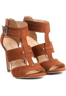 Sandália Couro Shoestock Salto Fino Fivela Feminina - Feminino-Caramelo