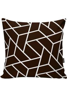 Capa De Almofada Geometric- Marrom Escuro & Branca- Stm Home