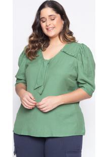 Blusa Almaria Plus Size Lasala Laço Liso Verde Floresta