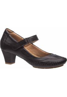 Scarpin Doctor Shoes Couro Preto Liso Feminino - Feminino-Preto