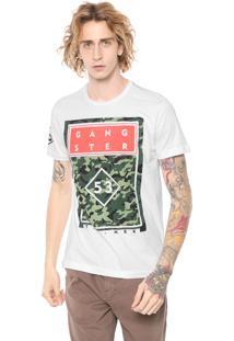 Camiseta Gangster Estampada Branca
