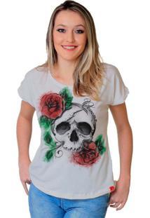 Camiseta Wevans Caveira Rosas Branca