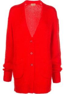 Lhd Cardigan Decote Em V Com Botões - Vermelho