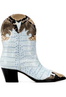 Paris Texas Ankle Boot Com Efeito Pele De Píton - Azul