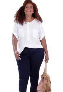 Polo Briana Dois Bolsos Plus Size Vickttoria Vick Plus Size Off-White