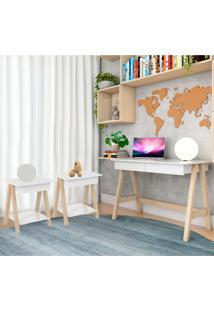 Escrivaninha Cavalete E Conjunto Mesa Lateral Natural Branco Casah