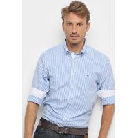 be7ca47a4e Camisa Manga Longa Tommy Hilfiger Masculina - Masculino-Azul+Branco