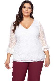 Blusa Almaria Plus Size Pianeta Renda Branco