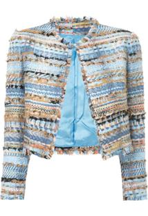 Isabel Sanchis Jaqueta Cropped De Tweed - Azul