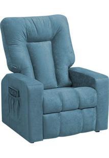 Poltrona Do Papai Reclinável Pallas Mx5 Suede Amassado Azul A-384 - Matrix