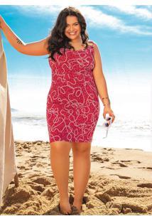 Vestido Plus Size Estampado Vermelho