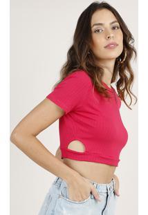 Blusa Feminina Cropped Canelada Com Vazado Manga Curta Decote Redondo Pink