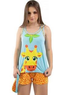 Pijama Baby Doll Short Girafa Com Tapa Olho Feminino - Feminino-Laranja