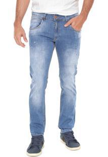 Calça Jeans Zune Reta Pespontos Azul