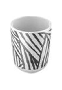 Porta-Escova Em Ceramica Safari Artex - Tamanho Unico - Branco / Preto