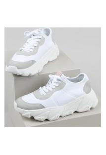 Tênis Feminino Oneself Sneaker Chunky Com Recortes Branco