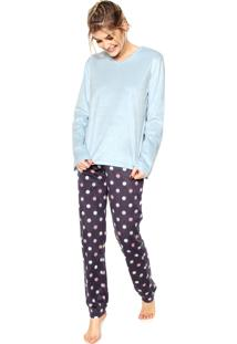 dea7b7d975db18 Pijama Any Any Soft Dots Azul