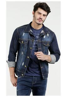 Jaqueta Masculina Jeans Puídos Bolsos Sawary