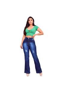 Calça Flare Jeans Levanta / Empina Bumbum - Ewf Jeans - Hot Pants Cintura Alta - Azul Escuro