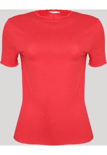 Blusa Feminina Canelada Frufru Manga Curta Decote Redondo Vermelha