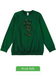Casaco Plus Size Em Moletom Verde